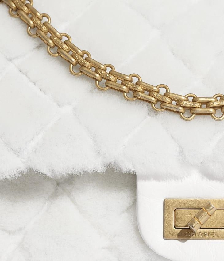 image 4 - 2.55 Handbag - Shearling Lambskin, Aged Calfskin & Gold-Tone Metal - White