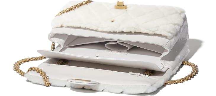 image 3 - 2.55 Handbag - Shearling Lambskin, Aged Calfskin & Gold-Tone Metal - White