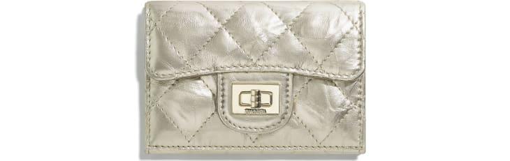 image 1 - 2.55 Small Flap Wallet - Metallic Crumpled Calfskin & Gold-Tone Metal - Light Gold