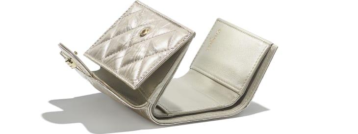 image 4 - 2.55 Small Flap Wallet - Metallic Crumpled Calfskin & Gold-Tone Metal - Light Gold