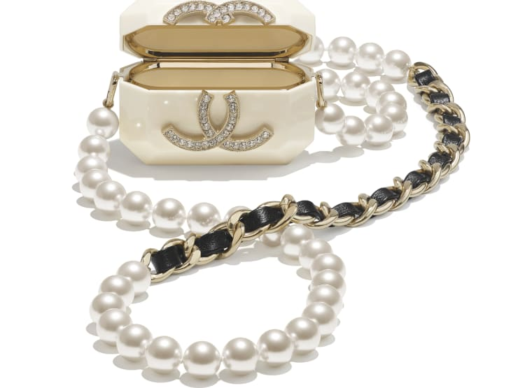 image 2 - AirPods Case Pro Necklace - Metal, Resin, Glass Pearls, Lambskin & Strass - Gold, White, Pearly White, Black & Crystal