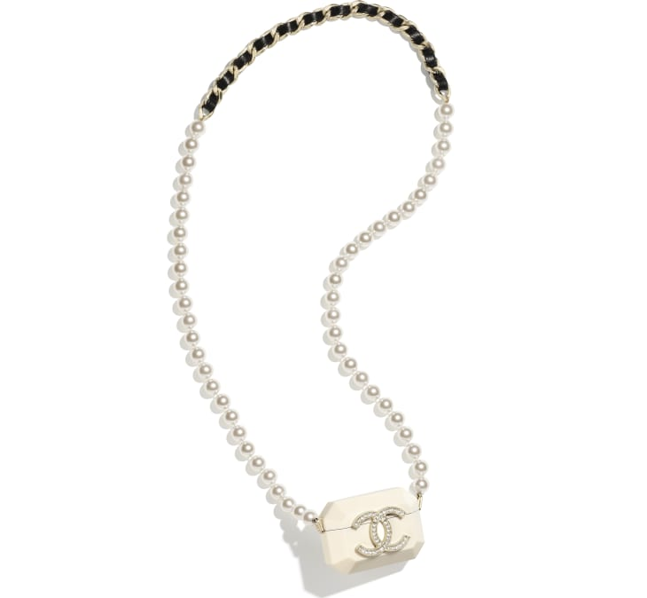 image 1 - AirPods Case Pro Necklace - Metal, Resin, Glass Pearls, Lambskin & Strass - Gold, White, Pearly White, Black & Crystal