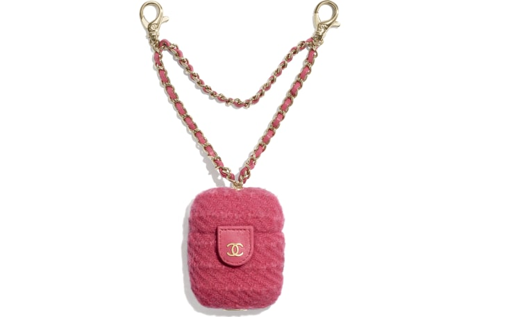 image 1 - AirPods Case - Wool Tweed & Gold-Tone Metal - Raspberry Pink