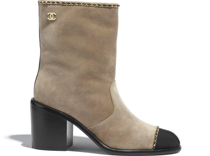 image 1 - Ankle Boots - Suede Calfskin & Grosgrain - Beige & Black