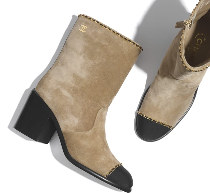 image 3 - Ankle Boots - Suede Calfskin & Grosgrain - Beige & Black