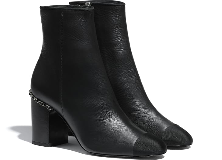 image 2 - Ankle Boots - Laminated Lambskin & Grosgrain - Black