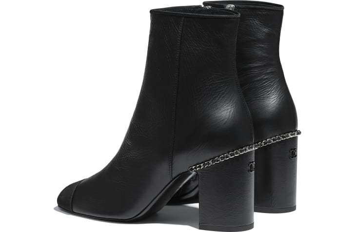 image 3 - Ankle Boots - Laminated Lambskin & Grosgrain - Black