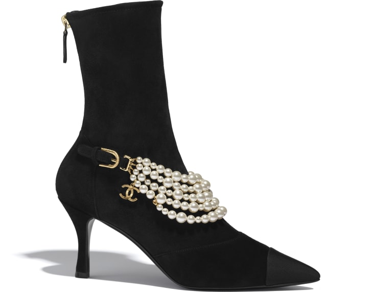 image 1 - Ankle Boots - Stretch Suede Calfskin, Grograin & Pearls - Black
