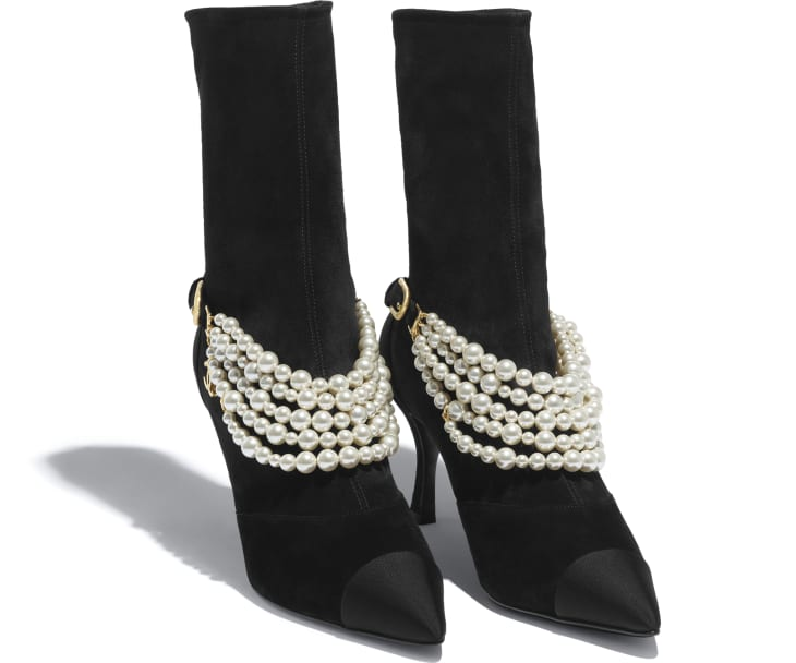 image 2 - Ankle Boots - Stretch Suede Calfskin, Grograin & Pearls - Black