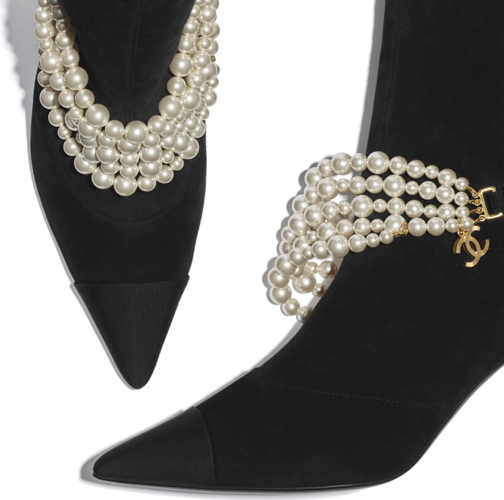 image 3 - Ankle Boots - Stretch Suede Calfskin, Grograin & Pearls - Black