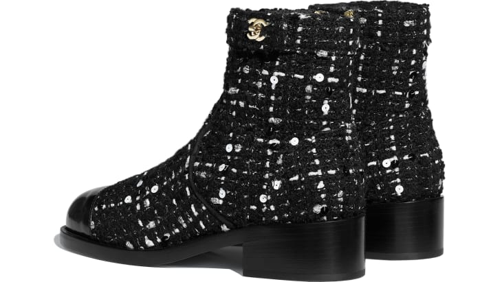 image 3 - Ankle Boots - Tweed & Calfskin - Black & White