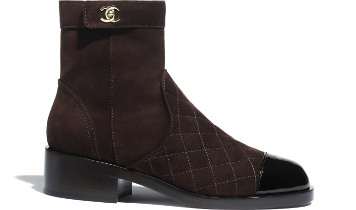 image 1 - Ankle Boots - Suede Calfskin & Patent Calfskin - Brown & Black