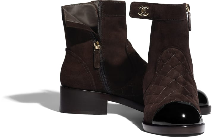image 4 - Ankle Boots - Suede Calfskin & Patent Calfskin - Brown & Black