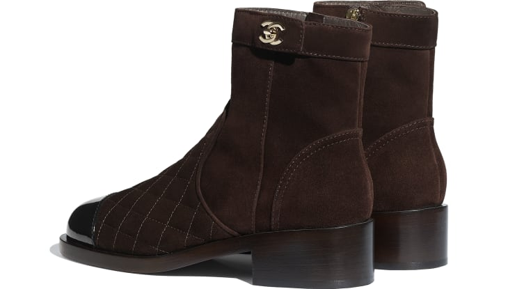 image 3 - Ankle Boots - Suede Calfskin & Patent Calfskin - Brown & Black