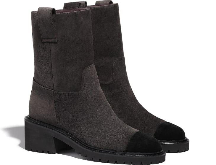 image 2 - Ankle Boots - Suede Calfskin - Brown & Black