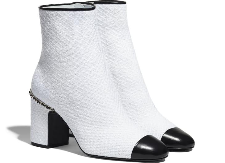 image 2 - Ankle Boots - Tweed & Shiny Calfskin - Ivory & Black