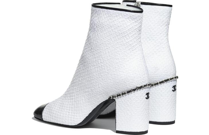 image 3 - Ankle Boots - Tweed & Shiny Calfskin - Ivory & Black
