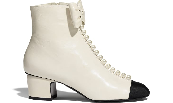 image 1 - Bottines - Veau brillant & gros-grain - Blanc & noir