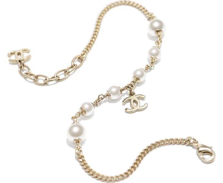 image 2 - Anklet - Metal & Glass Pearls - Gold & Pearly White