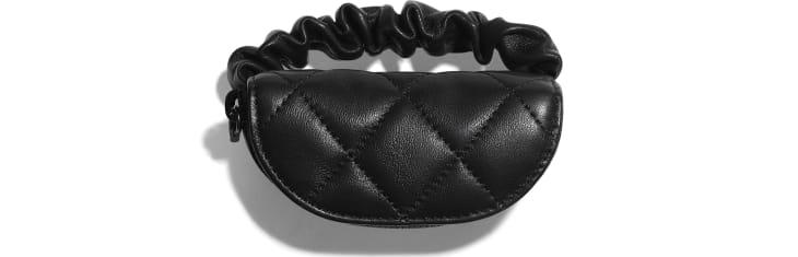 image 3 - Porte-monnaie de bras - Agneau & métal doré - Noir