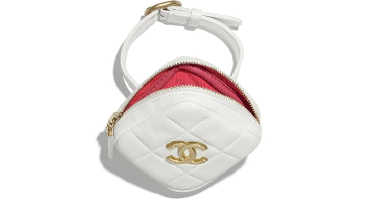 image 2 - Arm Coin Purse - Lambskin & Gold-Tone Metal - White