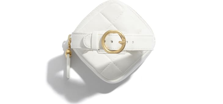 image 4 - Arm Coin Purse - Lambskin & Gold-Tone Metal - White