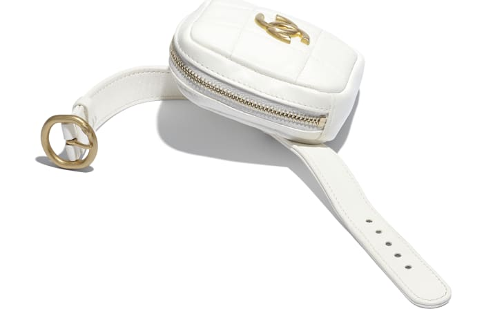 image 3 - Arm Coin Purse - Lambskin & Gold-Tone Metal - White