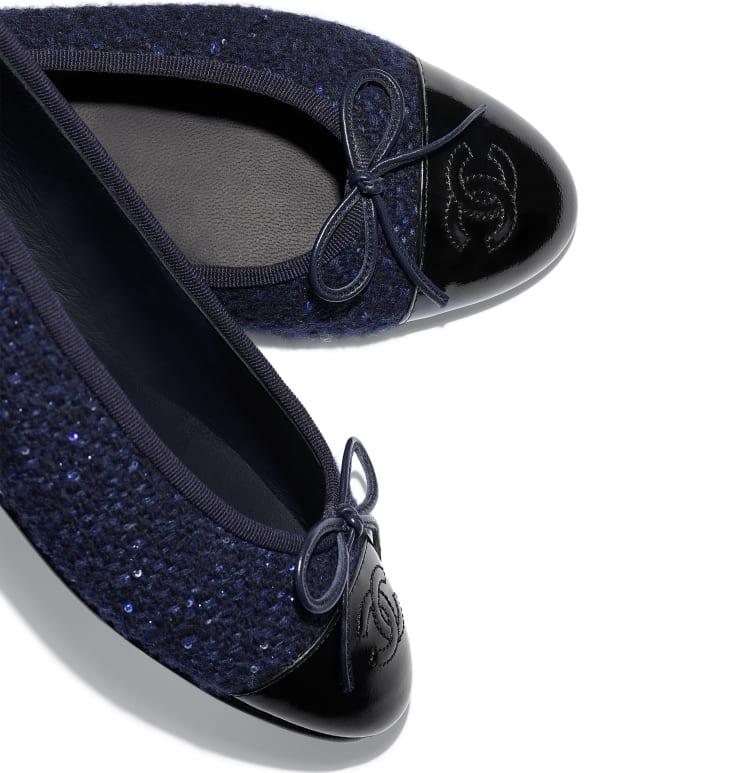 image 4 - Bailarinas - Tweed & Couro De Novilho - Azul Marinho & Preto