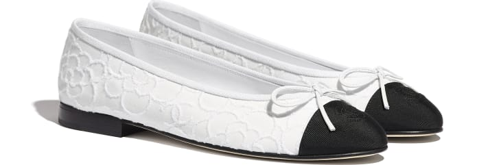 image 2 - Ballerinas - Tweed & Grosgrain - White & Black