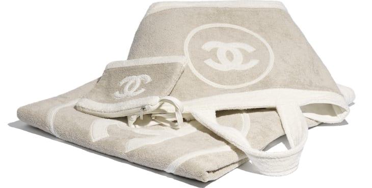 image 2 - Beachwear Set - Cotton - Beige & White