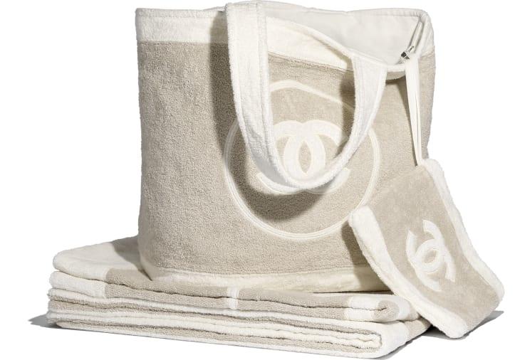 image 1 - Beachwear Set - Cotton - Beige & White