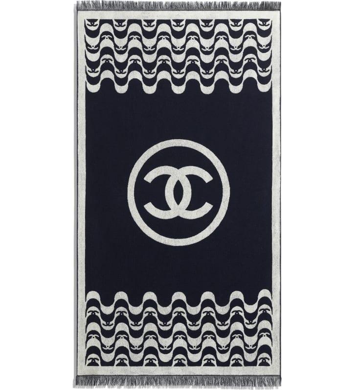image 3 - Set de plage - Coton - Bleu marine & écru