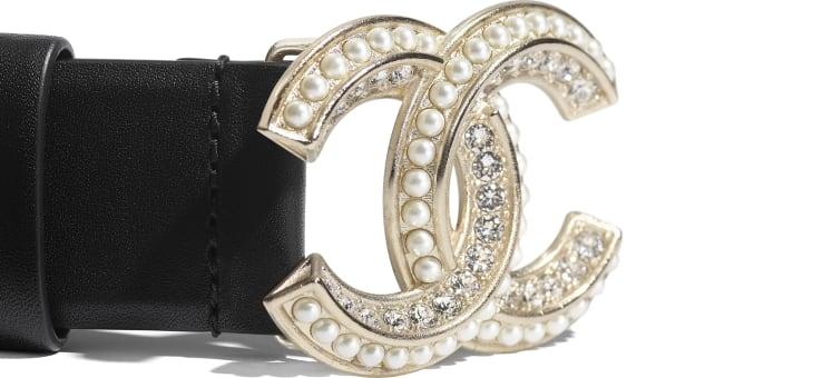 image 2 - Ceinture - Veau, perles de verre, strass & métal doré - Noir