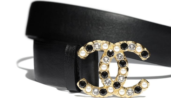 image 2 - Belt - Calfskin, Gold-Tone Metal, Glass Pearls & Strass - Black