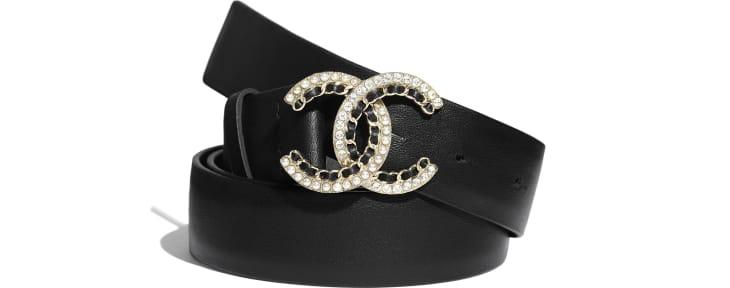 image 1 - Belt - Calfskin, Gold-Tone Metal, Glass Pearls & Strass - Black