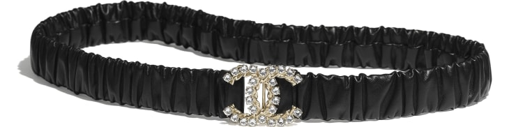 image 1 - Belt - Calfskin, Gold-Tone Metal, Glass Pearls & Strass - Black