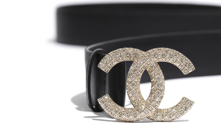 image 2 - Belt - Calfskin, Gold-Tone Metal & Diamanté - Black