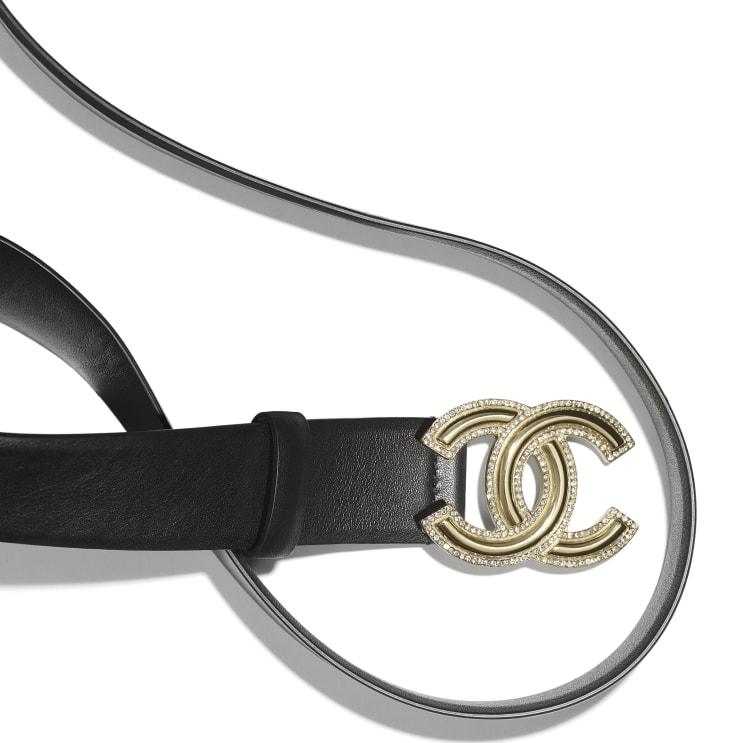 image 2 - Belt - Calfskin, Gold-Tone Metal & Diamanté - Black