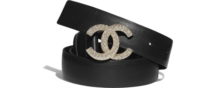 image 1 - Belt - Calfskin, Gold-Tone Metal & Diamanté - Black