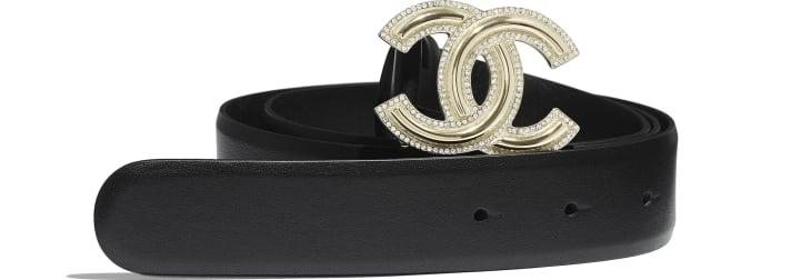 image 1 - Belt - Calfskin, Gold-Tone Metal & Diamanté - Black