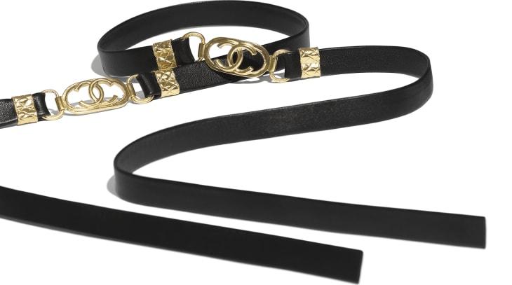 image 2 - Belt - Lambskin & Gold Metal  - Black