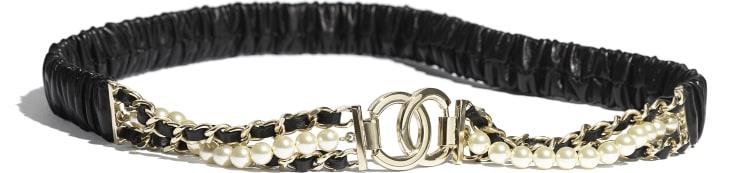 image 1 - Ceinture - Agneau, métal doré, perles de verre & strass - Noir