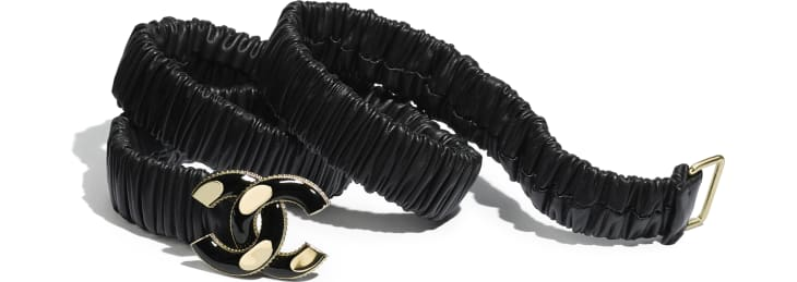 image 1 - Belt - Lambskin, Gold-Tone Metal & Resin - Black