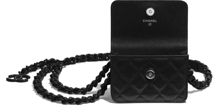 image 2 -  Belt Flap Card Holder - Grained Calfskin & Lacquered Metal - Black