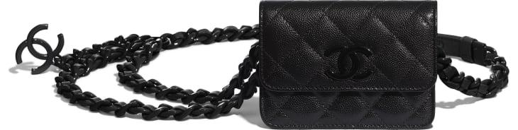 image 3 -  Belt Flap Card Holder - Grained Calfskin & Lacquered Metal - Black