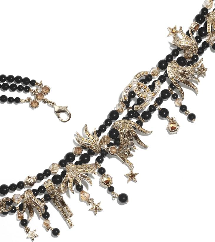 image 2 - Belt - Metal, Glass Pearls, Glass & Strass - Gold, Black & Crystal