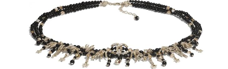 image 1 - Belt - Metal, Glass Pearls, Glass & Strass - Gold, Black & Crystal