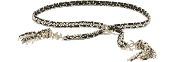 image 1 - Belt - Metal, Calfskin, Glass Pearls & Strass - Gold, Black, Pearly White & Crystal