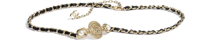 image 1 - Belt - Metal, Calfskin, Imitation Pearls & Strass - Gold, Black, Pearly White & Crystal