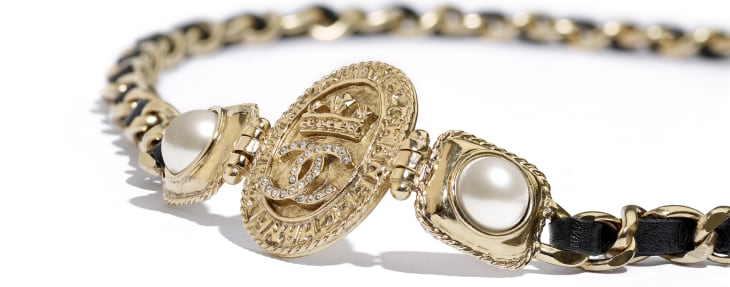 image 2 - Belt - Metal, Calfskin, Imitation Pearls & Strass - Gold, Black, Pearly White & Crystal